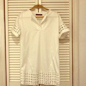 Zara Eyelet White tunic dress XS